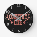 Country Life Antlers Peach Rose Gold Glam Round Clock