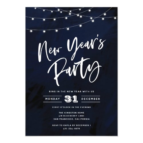 Country Lights New Year's Eve Party Invitation