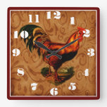 Country Rooster Square Wall Clock
