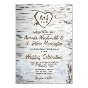 Country Rustic Birch Tree Bark Wedding Invitations