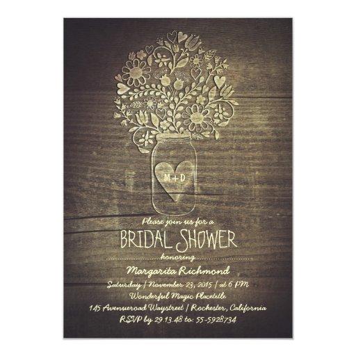 country rustic mason jar floral bridal shower card
