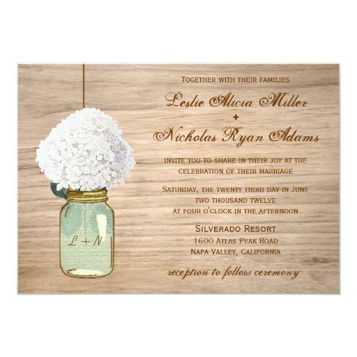 Country Rustic Mason Jar Hydrangea Wedding 5x7 Paper Invitation Card