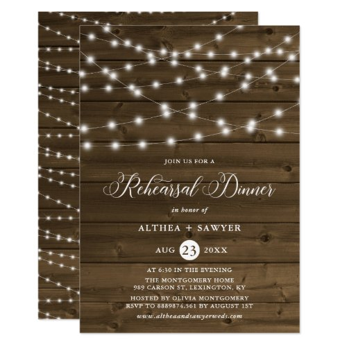 Country Rustic String Lights Rehearsal Dinner Invitation