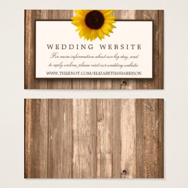Country Rustic Sunflower & Brown Wood Wedding Business Card