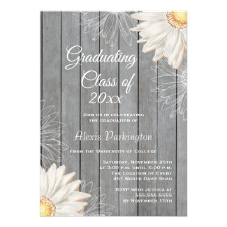 Country rustic white daisy graduation party invite