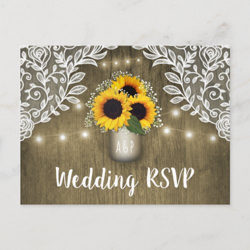 Country Sunflower Mason Jar Wedding RSVP Postcards