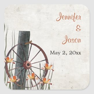 Country Wagon Wheel - Save the Date Square Sticker