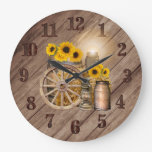 Country Wood Barrel and Sunflowers Large Clock