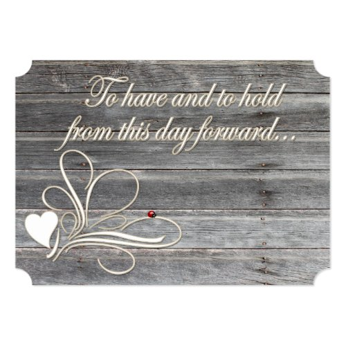 Country Wood Wedding Vows Heart Design Ladybug Card
