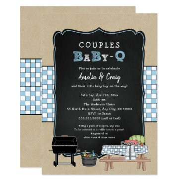 Couples Baby Q, boy BBQ baby shower Card