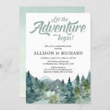 Couples baby shower, rustic forest mountains invitation