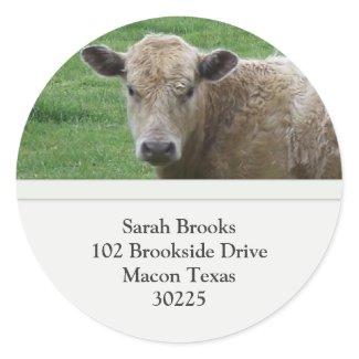 Cow Address Label Round Stickers
