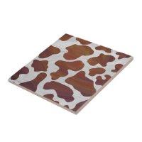 Cow Brown and White Print Ceramic Tile   Zazzle