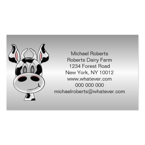 Cow Just Add Text Farmer Business Card