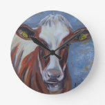 Cow Painting, Cow Decor, Cow Art, Dairy Cow Round Clocks