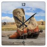 Cowboy Boots Numbered Wall Clock