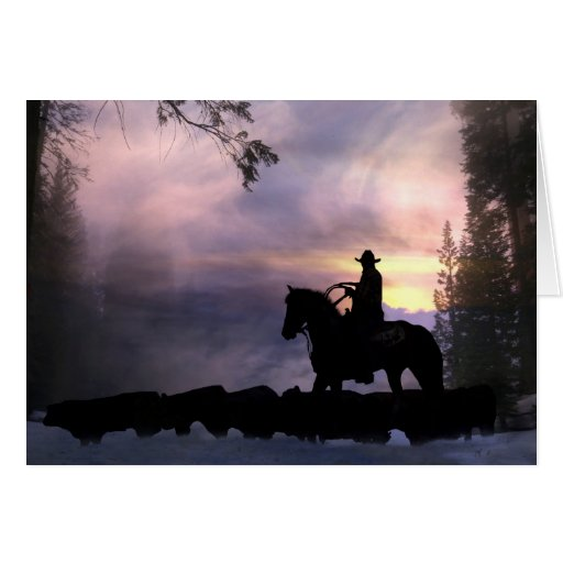 Cowboy Christmas Greeting From Across The Miles Card Zazzle