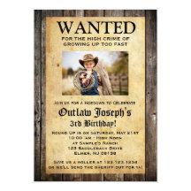 Cowboy Party Invitation | WANTED INVITATION
