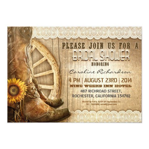 Perfect Invitation For Rustic Country Western Sunflowers Cowboy Cow Shoes Garden Wedding Farm Bridal Shower