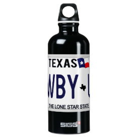Cowboy Up!  CWBY UP Texas License Plate Aluminum Water Bottle