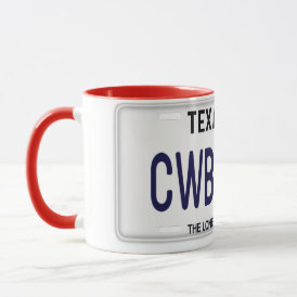 Cowboy Up!  CWBY UP Texas License Plate Mug
