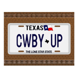 Cowboy Up!  CWBY UP Texas License Plate Postcard