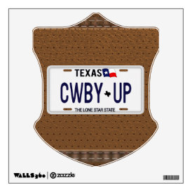 Cowboy Up!  CWBY UP Texas License Plate Wall Decal