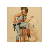 Vintage Cowgirl Pinup Art & Framed Artwork