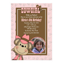 Cowgirl Western Monkey 5x7 *PHOTO* Birthday Personalized Invitations