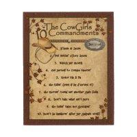Cowgirls 10 Commandments Wood Wall Decor | Zazzle