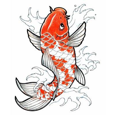 Coy Fish Tattoo Style white vintage womens tshirt by TronRx