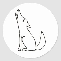 coyote drawing wolf howling line dog ink sticker fun round classic