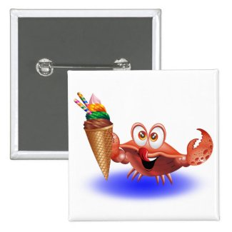 Crab Cartoon with Ice Cream Buttons