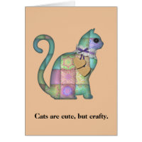 Crafty Cats Quilt Funny Birthday Card