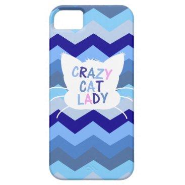Crazy Cat Lady - Blue Chevron Waves iPhone SE/5/5s Case