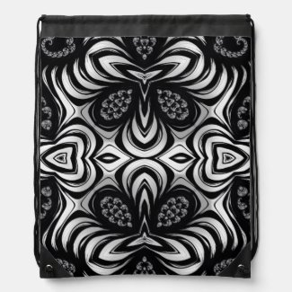 Crazy Zebra Pattern Fractal Drawstring Bag
