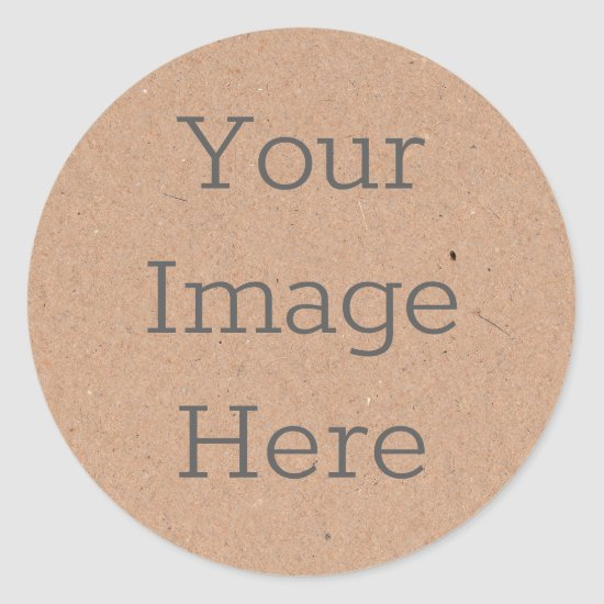 Create Your Own Brown Kraft Paper Print Classic Round Sticker