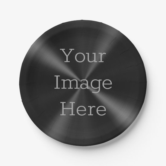 Create Your Own Brushed Radial Jet Black Metal Paper Plate