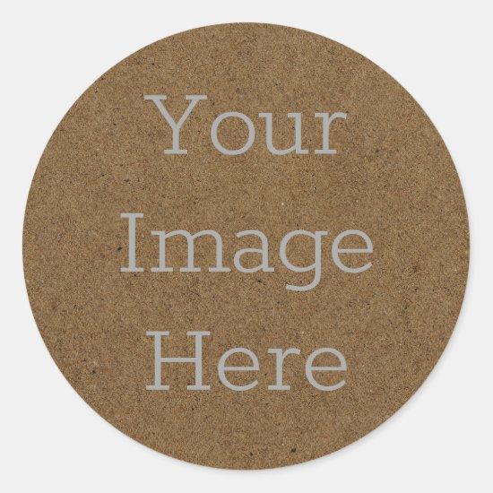 Create Your Own Dark Brown Kraft Paper Board Print Classic Round Sticker