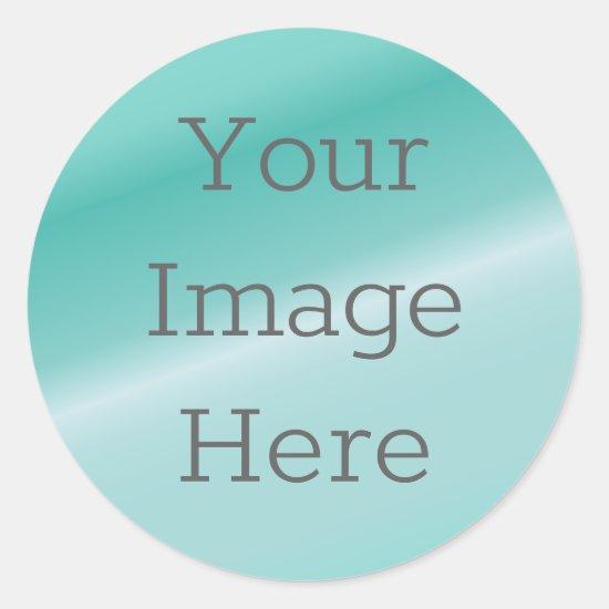 Create Your Own Metallic Aqua Blue Teal Faux Foil Classic Round Sticker