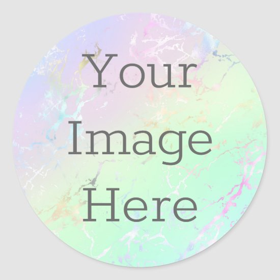 Create Your Own Metallic Faux Iridescent Marble Classic Round Sticker