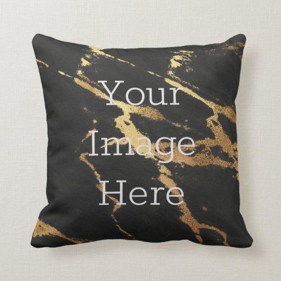 Create Your Own Metallic Gold & Black Faux Marble Throw Pillow
