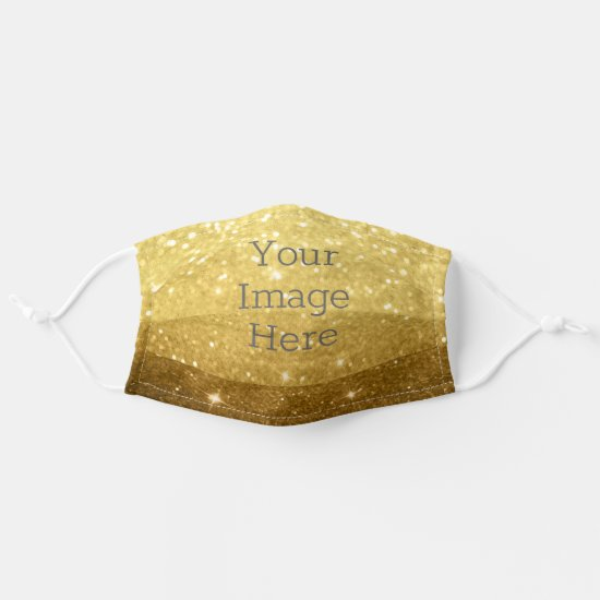 Create Your Own Metallic Gold Glitter Faux Foil Adult Cloth Face Mask
