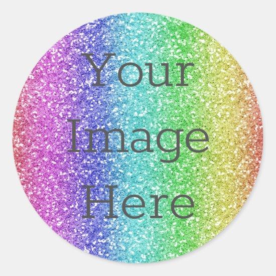 Create Your Own Metallic Rainbow Glitter Faux Foil Classic Round Sticker
