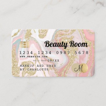 Credit card gold marble pink beauty monogram