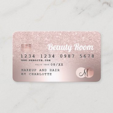 Credit card rose gold metallic glitter beauty