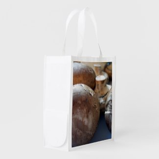 Crimini mushrooms reusable grocery bag