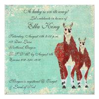 Crimson & Azure Llamas Baby Invitation