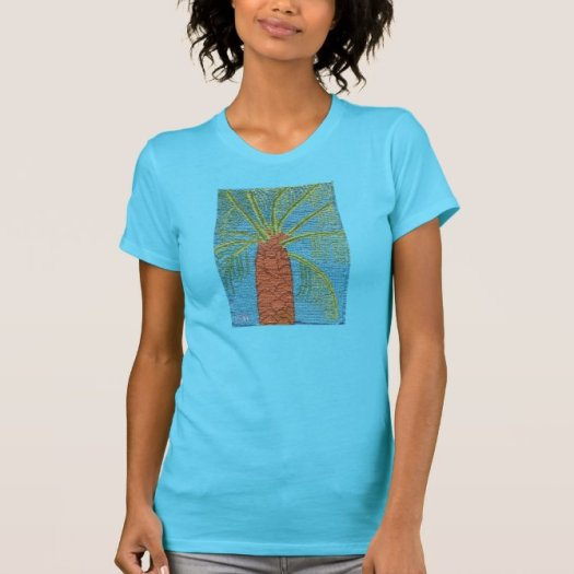 Cross Stitched Palm Tree By Julia Hanna T Shirt