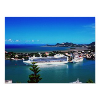 Cruise ships in port at St. lucia Posters